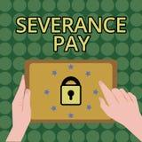 Η αποκοπή γραψίματος κειμένων γραφής πληρώνει Έννοια που σημαίνει το ποσό που καταβάλλεται σε έναν υπάλληλο στη λήξη μιας σύμβαση ελεύθερη απεικόνιση δικαιώματος