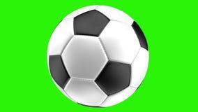 Η απομονωμένη ρεαλιστική σφαίρα ποδοσφαίρου σε ένα πράσινο υπόβαθρο περιστρέφεται, τρισδιάστατη απόδοση απόθεμα βίντεο