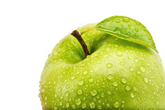 Η απομονωμένη Juicy πράσινη Apple που απομονώνεται στο λευκό Στοκ Φωτογραφία