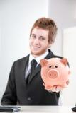 Η αποταμίευση δεν είναι ποτέ ευκολότερη με το ειδικό piggybank μου! Στοκ Εικόνες