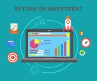 Η απόδοση της επένδυσης, έσοδα από επενδύσεις, καθαρό κέρδος, σχεδιάζει επάνω, ο επιτυχής κύκλος εργασιών των επενδυμένων κεφαλαί ελεύθερη απεικόνιση δικαιώματος
