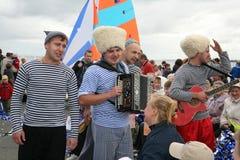 Η απόδοση της ρωσικής συμμορίας Malinovskaya συνόλων ομάδας μουσικής λαϊκής λαϊκής Στοκ Εικόνα