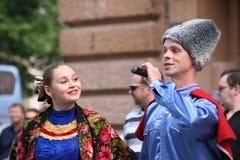 Η απόδοση των μουσικών και των χορευτών του εθνικού ρωσικού συνόλου Sudarushka Cossack Στοκ εικόνες με δικαίωμα ελεύθερης χρήσης