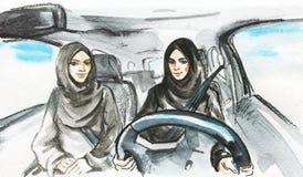 Η αραβική γυναίκα Watercolor οδηγεί ένα αυτοκίνητο στοκ εικόνες