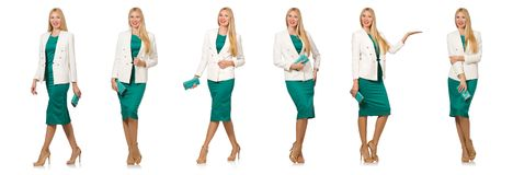 Η αρκετά νέα γυναίκα φόρεμα που απομονώνεται στο πράσινο στο λευκό Στοκ εικόνα με δικαίωμα ελεύθερης χρήσης