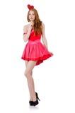 Η αρκετά νέα κυρία στο μίνι ρόδινο φόρεμα που απομονώνεται Στοκ Φωτογραφίες