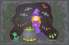 Η αρκετά φιλική μάγισσα παρασκευάζει μια φίλτρο Η μαγική φίλτρο βράζει σε ένα ασβέστιο απεικόνιση αποθεμάτων