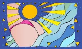 Η αρμονία της γοητείας των διακοπών εν πλω ήλιος, θάλασσα και μια γυναίκα Στοκ Εικόνα