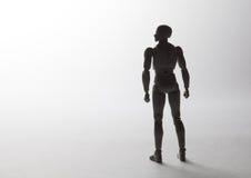 Η αρσενική σκιαγραφία ειδωλίων που στέκεται σε ισχυρό θέτει το κοίταγμα στο θόριο Στοκ Εικόνα