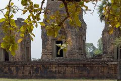 Η αρχαία άποψη ναών κοντά σε Angkor Wat, Siem συγκεντρώνει, Καμπότζη Προ άποψη ναών Rup με το φύλλο δέντρων Στοκ Εικόνα