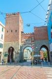 Η αρχαία πύλη πόλεων Porta Ticinese Μεσαιωνική πύλη του Μιλάνου Στοκ φωτογραφία με δικαίωμα ελεύθερης χρήσης