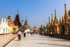Η αρχιτεκτονική στην παγόδα Shwedagon σε Yangoon Στοκ φωτογραφία με δικαίωμα ελεύθερης χρήσης