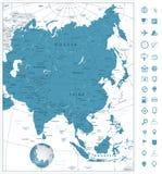 Η Ασία απαρίθμησε ιδιαίτερα τα εικονίδια χαρτών και ναυσιπλοΐας Στοκ Φωτογραφία