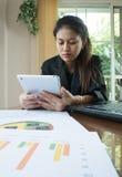 Η ασιατική λειτουργώντας γυναίκα με την επιχειρησιακή περίληψη ή το επιχειρηματικό σχέδιο υποβάλλει έκθεση με τα διαγράμματα και  Στοκ εικόνες με δικαίωμα ελεύθερης χρήσης
