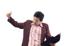 Η ασιατική πρόσκληση επιχειρηματιών ή νεύει το χρησιμοποιημένο σημάδι χεριών απομονώνει στο W Στοκ εικόνα με δικαίωμα ελεύθερης χρήσης