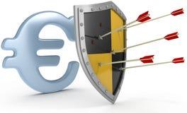 Η ασπίδα προστατεύει την ασφαλή ευρο- ασφάλεια χρημάτων Στοκ εικόνα με δικαίωμα ελεύθερης χρήσης