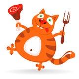 Η αστεία γάτα συμπαθεί το κρέας - απεικόνιση Στοκ Φωτογραφία