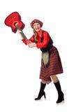 Η αστεία γυναίκα στο σκωτσέζικο ιματισμό με την κιθάρα Στοκ Εικόνα