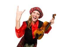 Η αστεία γυναίκα στο σκωτσέζικο ιματισμό με το βιολί Στοκ εικόνες με δικαίωμα ελεύθερης χρήσης