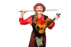 Η αστεία γυναίκα στο σκωτσέζικο ιματισμό με το βιολί Στοκ φωτογραφίες με δικαίωμα ελεύθερης χρήσης
