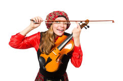 Η αστεία γυναίκα στο σκωτσέζικο ιματισμό με το βιολί Στοκ Εικόνα