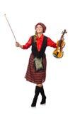 Η αστεία γυναίκα στο σκωτσέζικο ιματισμό με το βιολί Στοκ Φωτογραφίες