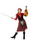 Η αστεία γυναίκα στο σκωτσέζικο ιματισμό με το βιολί Στοκ φωτογραφία με δικαίωμα ελεύθερης χρήσης