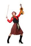 Η αστεία γυναίκα στο σκωτσέζικο ιματισμό με το βιολί Στοκ εικόνα με δικαίωμα ελεύθερης χρήσης