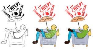 Η αστεία συνεδρίαση τύπων σε μια καρέκλα και η παρουσίαση φυλλομετρούν επάνω Το ευτυχές πρόσωπο προστατεύεται από αποτυγχάνει Αντ διανυσματική απεικόνιση