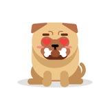 Η αστείες συνεδρίαση και η εκμετάλλευση χαρακτήρα σκυλιών μαλαγμένου πηλού αποστεώνουν στο στόμα της τη διανυσματική απεικόνιση Στοκ φωτογραφίες με δικαίωμα ελεύθερης χρήσης