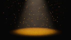 Η αστραπή χρυσή ακτινοβολεί πέφτοντας μέσω ενός κώνου του φωτός σε ένα στάδιο Στοκ εικόνα με δικαίωμα ελεύθερης χρήσης