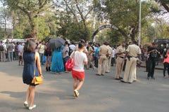 Η αστυνομία διατηρεί τις ρυθμίσεις κατά τη διάρκεια της υπερηφάνειας Μάρτιος Mumbai Στοκ εικόνα με δικαίωμα ελεύθερης χρήσης