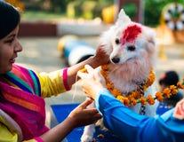 Η αστυνομία του Νεπάλ γιορτάζει Kukur Tihar στο Κατμαντού Στοκ Εικόνες