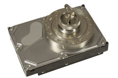 Η ασφαλής κλειδαριά εξασφαλίζει το σκληρό δίσκο Στοκ εικόνα με δικαίωμα ελεύθερης χρήσης