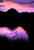 η αυγή σκιαγραφεί προ Στοκ Εικόνες