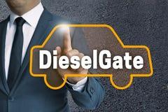 Η αυτόματη οθόνη επαφής DieselGate χρησιμοποιείται από την έννοια επιχειρηματιών Στοκ Εικόνες