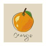 Η αφίσα με μια εικόνα ενός πορτοκαλιού Στοκ Εικόνα