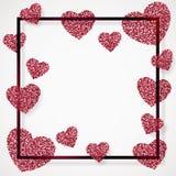 Η αφίσα με την καρδιά του ρόδινου κομφετί, σπινθηρίσματα, ακτινοβολεί στο μαύρο πλαίσιο, σύνορα Στοκ Εικόνα