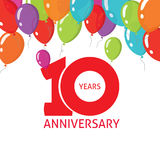 10η αφίσα μπαλονιών επετείου, 10 έτη σχεδίου εμβλημάτων Στοκ Εικόνες