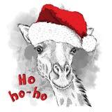 Η αφίσα Χριστουγέννων με την εικόνα giraffe του πορτρέτου στο καπέλο Santa ` s επίσης corel σύρετε το διάνυσμα απεικόνισης Στοκ εικόνα με δικαίωμα ελεύθερης χρήσης