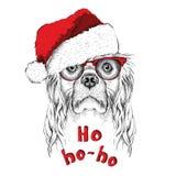 Η αφίσα Χριστουγέννων με το πορτρέτο κόκερ εικόνας στο καπέλο Santa ` s επίσης corel σύρετε το διάνυσμα απεικόνισης ελεύθερη απεικόνιση δικαιώματος