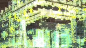Η αφηρημένη γεωμετρική μετατόπιση φω'των πόλεων κτίζει το βιομηχανικό μηχανών μετάλλων βίντεο σύστασης τοπίων ψηφιακό απεικόνιση αποθεμάτων