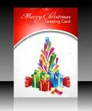 Η αφηρημένη κάρτα Χριστουγέννων flayer με εκρήγνυται τα αστέρια Στοκ Φωτογραφία