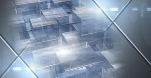 Η αφηρημένη μετάβαση με το φουτουριστικό κύβο διαμορφώνει συσσωρευμένος και καμμένος Στοκ Εικόνες
