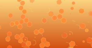 Η αφηρημένη μετακίνηση υποβάθρου με τη γεωμετρική hexagon σειρά διαμορφώνει όπως την κυψέλη, φουτουριστική επίδραση στην πορτοκαλ απεικόνιση αποθεμάτων