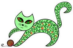 Η αφηρημένη πράσινη γάτα παίζει με μια σφαίρα απεικόνιση αποθεμάτων