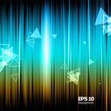 Η αφηρημένη σύνθεση, λαμπρή γεωμετρική φλόγα μορφής, οπτικές χρωματισμένες γραμμές ανάβει, πετώντας το εικονίδιο ακτινοβολιών τρι Στοκ Εικόνες