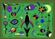 Η αφηρημένη σύνθεση, φαντάζεται τις γεωμετρικές μορφές στο μπλε expressionism υποβάθρου ύφος τέχνης Στοκ Φωτογραφία