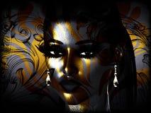 Η αφηρημένη τέχνη προσώπου, κλείνει επάνω, γυναίκα ελεύθερη απεικόνιση δικαιώματος