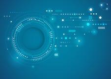 Η αφηρημένη τεχνολογία περιβάλλει το μπλε υπόβαθρο Στοκ Εικόνα